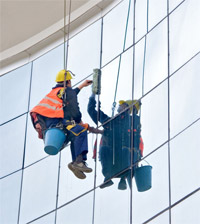 Window cleaning abseiling