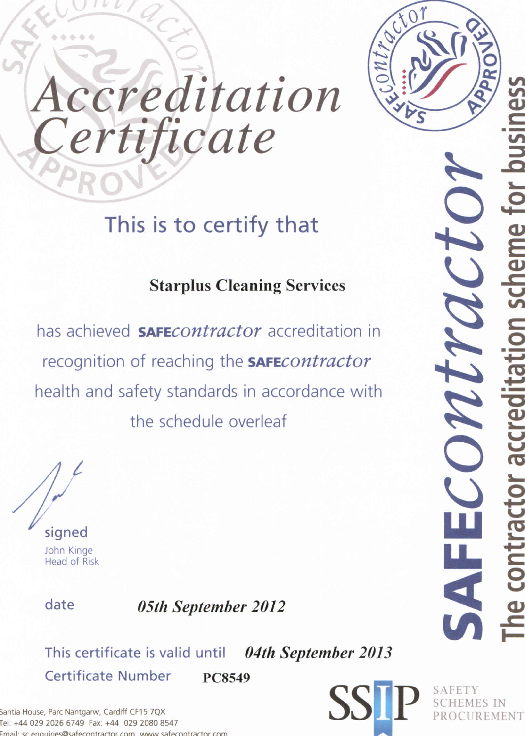 We are please to announce that we have received our renewal accreditation with Safe Contractor for another year!